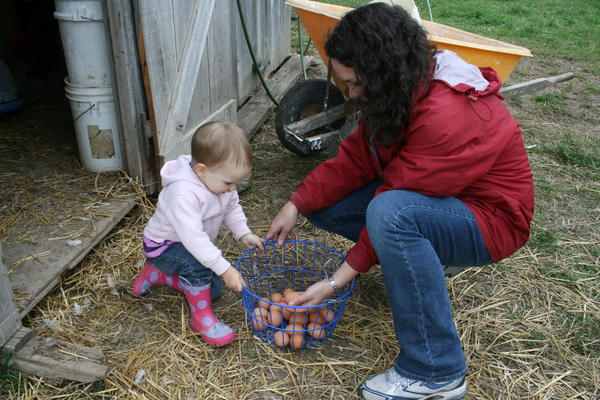 Jenna and mom, Heidi,Collecting Eggs