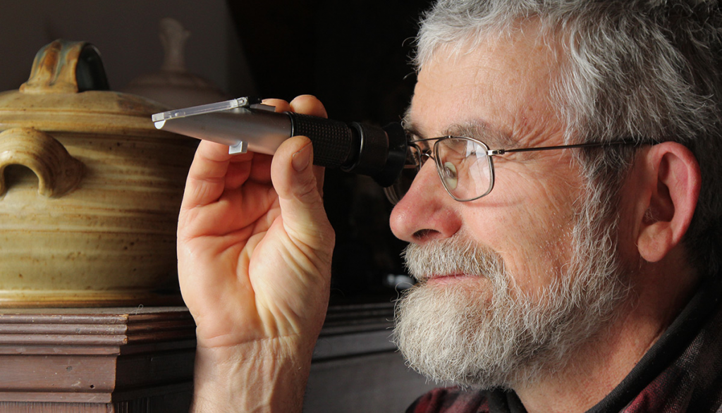 Ken Reading the Refractometer