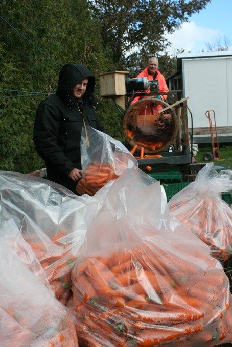 Clay and Jim Washing Carrots