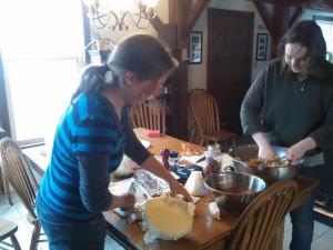 Naomi and Rose Making Sauerkraut and Kimchi