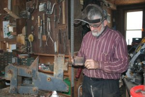 Ken busy in his workshop building the next no-till implement...