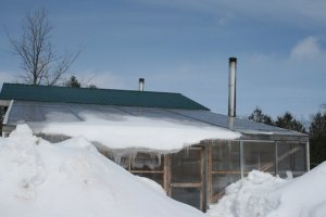 Greenhouse with Snow and Ice Receding February 2015