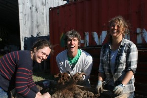 Rose, Aden and Naomi making Potting Soil