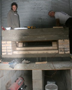 Seth and Jim at Work Building Arch on the Wood Fired Oven
