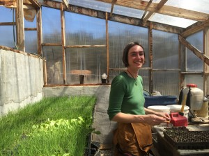 Heidi working in the greenhouse